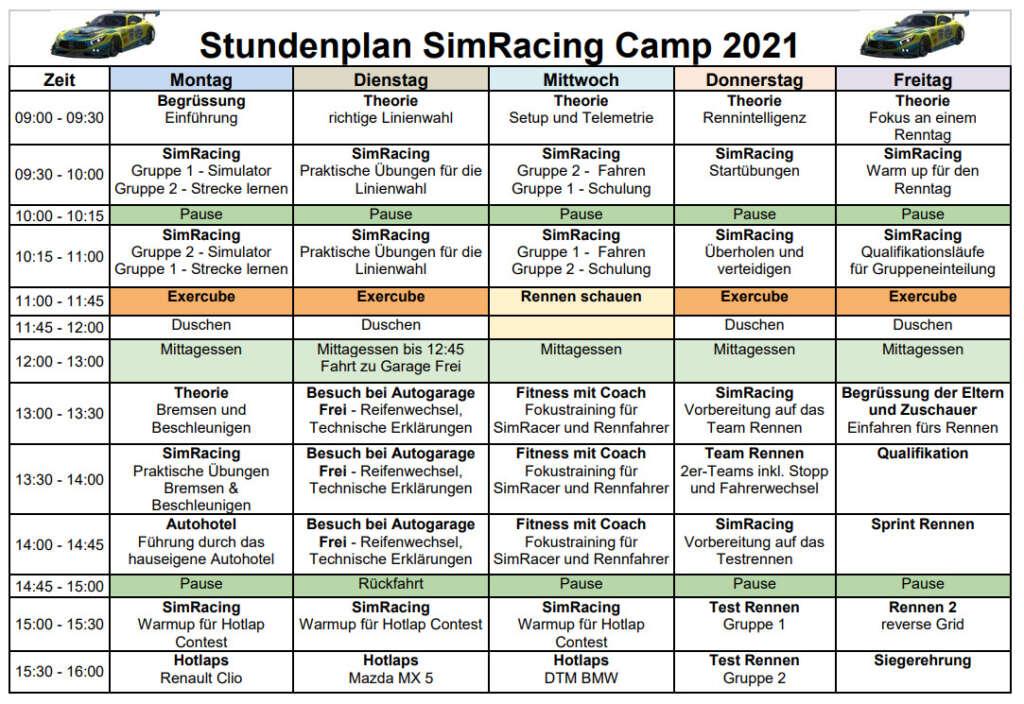 Stundenplan Simracing Camp 2021